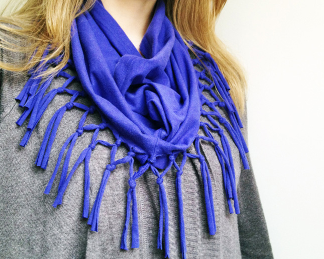 1. Shirt to Fringe Scarf