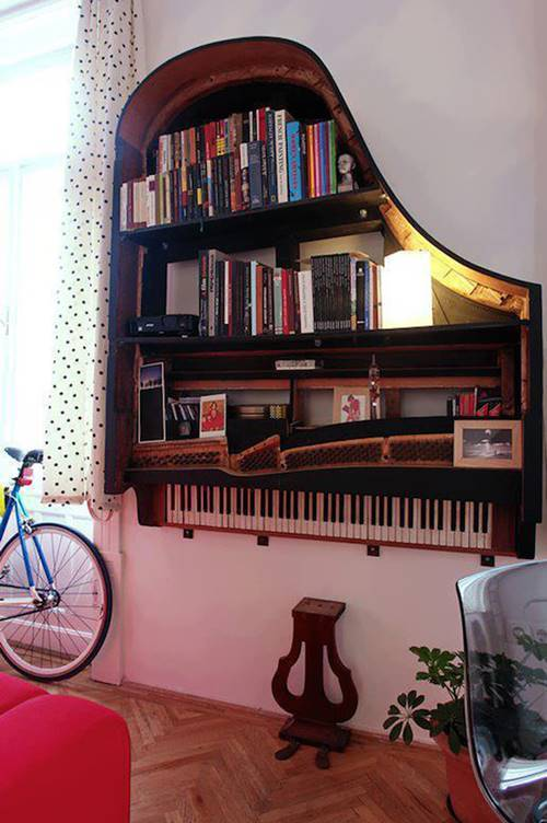 6 Grand Piano into Bookshelf
