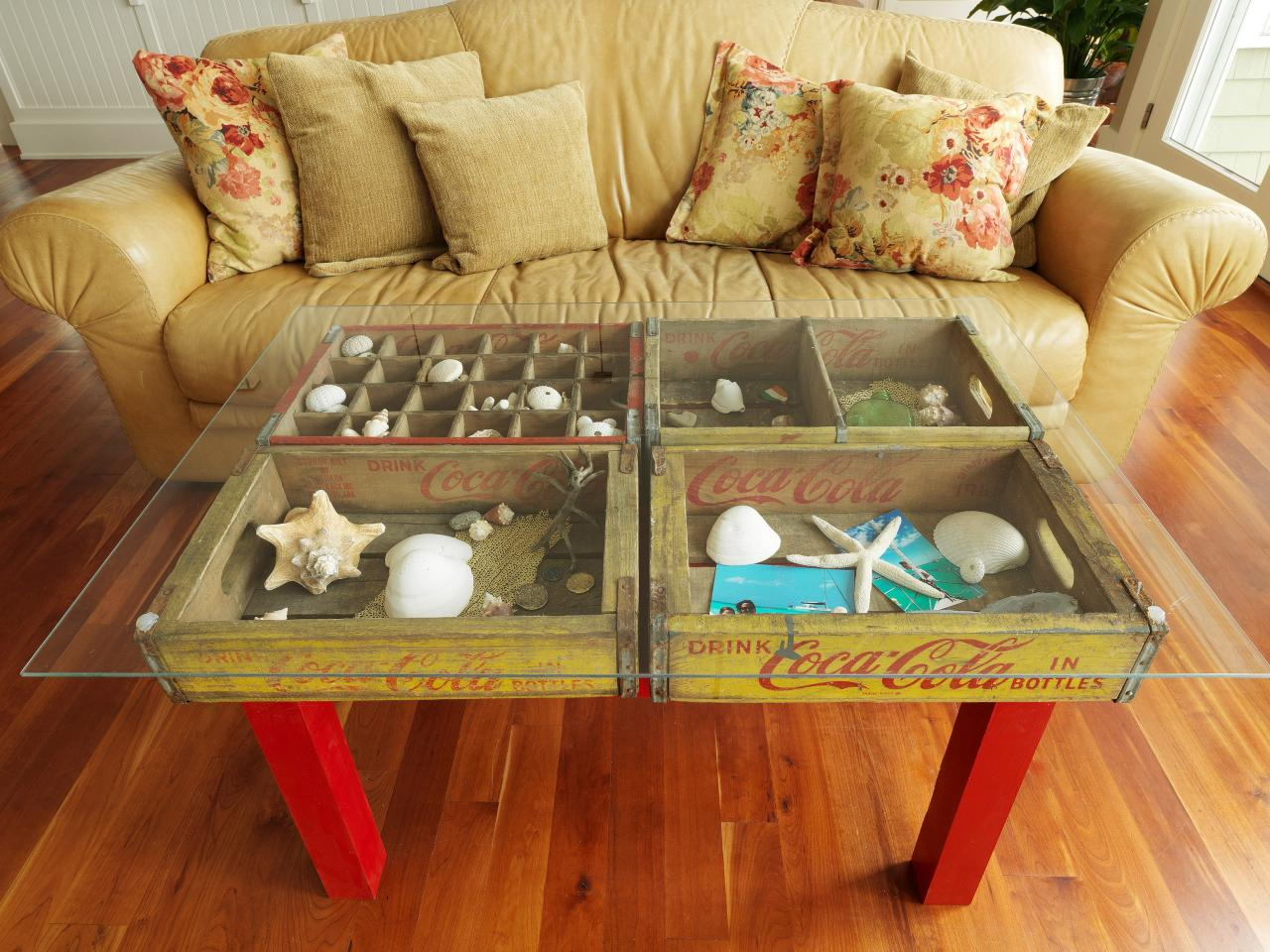 7 Soda Crates into Coffee Table