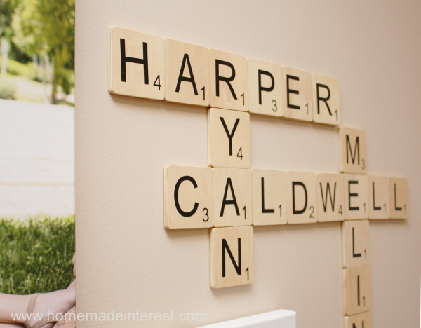 7. scrabble tile wall art